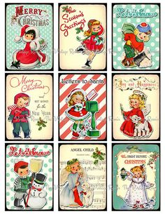 Digital Collage Sheet Christmas Tags Labels by TheVintageRemix, $3.75