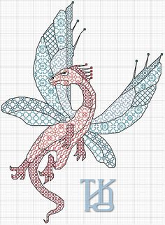 Cross-stitch Dragons... No color chart available, just use the pattern chart as your color guide... or colors of your own choosing.