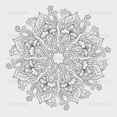 Advanced Coloring Pages for Adults | Ornamental round floral lace pattern. kaleidoscopic floral pattern ...
