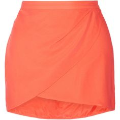 Mason by Michelle Mason Wrap-effect textured-silk mini skirt ($170) ❤ liked on Polyvore featuring skirts, mini skirts, юбки, orange, orange skirt, wraparound skirt, mason by michelle mason, short red skirt and short mini skirts