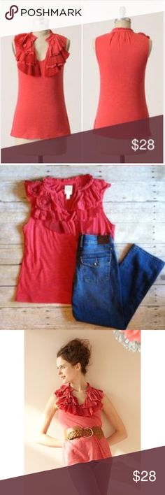 Feathery Tank by Ric Rac for Anthropologie Beautiful tank with ruffled detail around neckline in red. Anthropologie Tops Tank Tops
