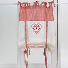 Store enrouleur vichy rouge coeur d'amour 60x160 Amadeus