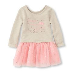 Long Sleeve Embellished Mesh Tutu Dress   The Children's Place