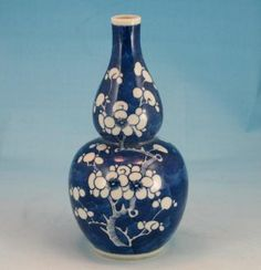 blue & white gourd vase | ... 19th C Chinese Porcelain Double Gourd Vase Prunus Flowers photo