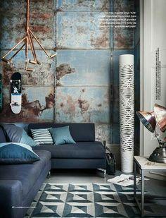 Rust. Backdrop. Modern lamp.  Brass.