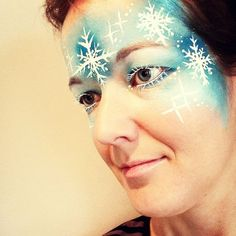 Halloween Frozen face paint with snowflakes 2014 - eyeshadow, forehead  #2014 #Halloween