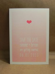 Pink Peach Watercolor / Custom Printed Heart Small Save the Date / Invitation / Party / Pretty and Fun / Love / Cute / Modern Darby Cards