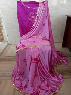 Satin shibouri sarees with blouse embroidery and mirror work lace Elegant Fashion Wear, Trendy Fashion, Designer Blouse Patterns, Design Patterns, Shibori Sarees, Wedding Prep, Saree Blouse Designs, Dress Up, Indian