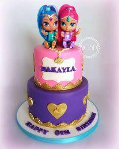 Shimmer And Shine Birthday Cake Ideas Pig Birthday Cakes, Birthday Ideas, Baby Birthday, Shimmer And Shine Cake, Jasmine Cake, Bug Cake, Fantasy Cake, Birthday Cake Decorating, Occasion Cakes