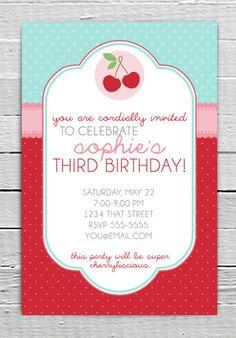Cherry Theme Birthday Invitation Custom by LuxePartySupply on Etsy, $9.99