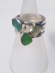 Yellow green Largo Sea glass set in sterling silver on a hammered band. Perfect for stacking. Stone is appx long. Size M/N Stacked picture shows 3 sea glass rings and one plain band for spacing. Sea Glass Ring, Stackable Rings, Sea Foam, Engagement Rings, Jewels, Band, Sterling Silver, Stone, Crystals