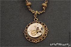 Clockwork Beads Amulet  Steampunk necklace bronze by SpinnWeben
