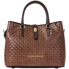 Dooney Bourke Claremont Woven Perry Satchel ($348) ❤ liked on Polyvore featuring bags, handbags, brown leather satchel, brown purse, leather satchel, brown satchel and woven leather handbag