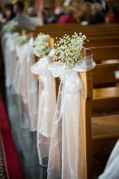 babys breath decorated church pews - brides of adelaide