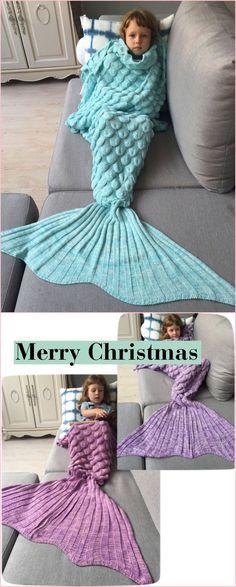 Kids Sleeping Bag Fish Scales Design Knitted Mermaid Blanket