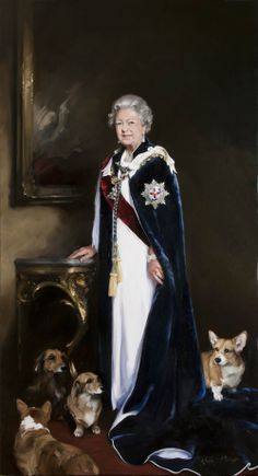A newer portrait of Queen Elizabeth II by Nicky Phillipps includes her beloved Corgis. This painting was revealed just before the Queen's anniversary of her coronation. Queen Elizabeth Portrait, Queen Elizabeth Ii, Princess Elizabeth, Queen Liz, Papua Nova Guiné, Prinz Philip, Royal Queen, Royal Royal, Queen News