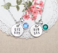 Big Sis Lil Sis necklaces, set of two, birthstone necklace, sisters jewelry, matching necklaces for sisters,Big Little Sister, infinity love on Etsy, $30.00