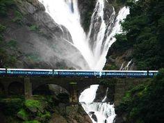 Indian Railways crossing dudhwa waterfall.