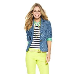 perfect for work in the summer. Polka Dot Chambray Blazer for $168 on C. Wonder
