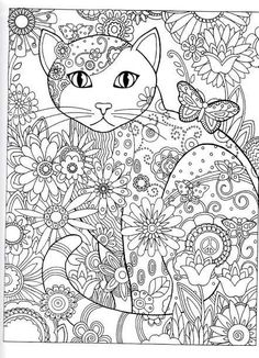 Dover Publications Creative Haven Creative Cats Coloring Book artwork by Marjorie Sarnat Butterfly Flower Abstract Doodle Zentangle Coloring pages colouring adult detailed advanced printable Kleuren voor volwassenen coloriage pour adulte anti-stress Adult Coloring Pages, Cat Coloring Page, Animal Coloring Pages, Colouring Pages, Printable Coloring Pages, Coloring Sheets, Doodle Coloring, Creative Haven Coloring Books, Cat Colors