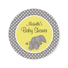 Cute Yellow Elephant Gender Neutral Baby Shower Sticker