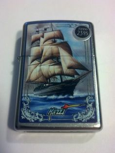 #28425 Mazzi Tall Sailing Ship Street Chrome Windproof Zippo Lighter