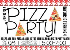 Pizza Party Invitation by NOLALOULOU on Etsy