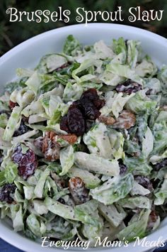 Brussels Sprouts Slaw~ A great twist on a classic, this summertime side is flavorful, creamy, crunchy...yum!