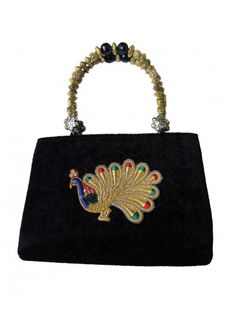 beautiful #peacock #handbag with #zardosi #work