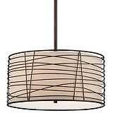 "Munroe Wire Wrapped Burlap 18 1/4"" Wide Bronze Pendant Light"