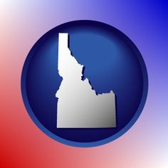Idaho map icon is red, white, and blue.