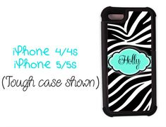 iPhone 4 case, personalized gift for teen girls- Black zebra print with Tiffany blue - iPhone 4/4s/5/5s cover iphone 5 case (9992)