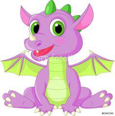 Cute Baby Dragon Cartoon Wall Sticker