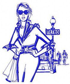 Girl near metro 2 machine embroidery design. Machine embroidery design. www.embroideres.com