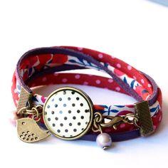 Bracelet liberty rouge et rose Bracelet à par Bouclelacreations