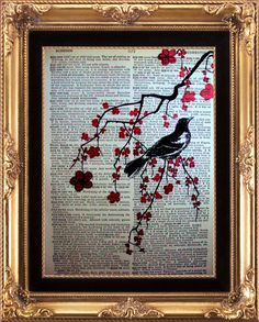 Cherry Blossoms Bird Vintage Dictionary Page Art.