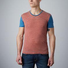 Contrast Sleeve V-Neck Burnt T-Shirt // Rustic Brown