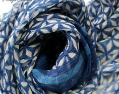 Items similar to Crochet Lace Scarf, Holiday Accessories,  winter fashion, 2014 trending, Bamboo scarf, Blue scarves on Etsy