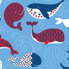 Whale fabric for making custom crib sheets by Ana Davis - True Blue - True Blue Whales in Blue at Hawthorne Threads Stoff Online Shop, Nautical Prints, Red Colour Palette, Color Blue, Baby Whale, Cute Whales, Wale, Baby Fabric, Book Quilt