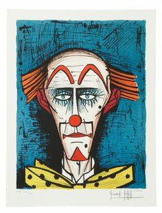 Bernard BUFFET (1928-1999) CLOWN SUR FOND BLEU, 1985 Lithographie Sold 1 500€…