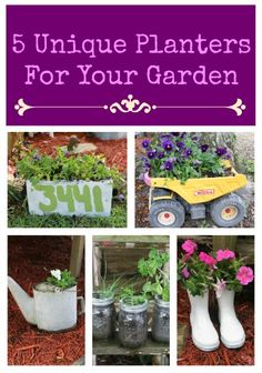 5 Unique Upcycled Planters For Your Garden - Repurpose items like cinder blocks, oil cans, and rain boots to create planters for your flowers and herbs. From premeditatedleftovers.com.