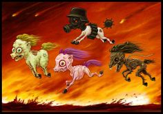 According to one reading of the ancient Mayan calendar, the apocalypse has come and gone, and the only species known to have conceived of atom bombs, na. Four Little Ponies Zombie Style, St John The Evangelist, Great Sword, Horsemen Of The Apocalypse, My Fantasy World, Gothic Art, Little Pony, Dark Art, Art Forms