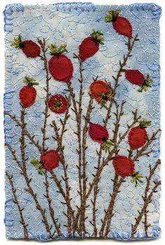 "Fabric appliqué and embroidery.  The blue background was dyed with indigo in a weak vat with tied resist.    The rose hips were seen on a clear day in late autumn, at the edge of Stanley Park on the Coal Harbour side.  3"" x 4 1/2"" 9"" x 11"" framed SOLD  www.chursinoff.com/kirsten/"