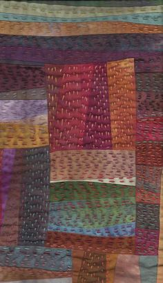 more details.Kantha quilt or simply big-stitch quilting Sashiko Embroidery, Japanese Embroidery, Hand Embroidery Stitches, Embroidery Patterns, Cushion Embroidery, Embroidery Techniques, Knitting Stitches, Kantha Quilt, Patchwork Quilting