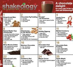 Shakeology recipes.  Find me at www.beachbodycoach.com/AnnaRiegler www.shakeology.com/AnnaRiegler