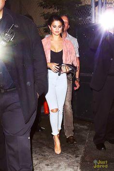 Selena Gomez wearing Topshop Moto Ripped Bleach Jamie Jeans, American Apparel Fine Tricot Bodysuit, Sister Jane Suede Fringe Jacket and Kurt Geiger Britton Pumps.