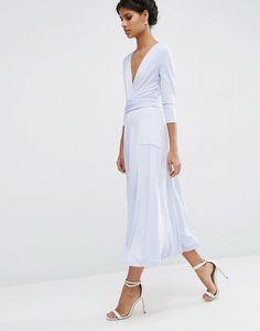 ASOS Wrap Maxi Dress in Jersey Crepe