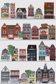 Canada on Behance,montreal,canada,house,flat,illustrate,leaf,september,october,beer,pub,store,kubra aslan