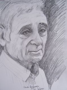 Charles Aznavour, a pencil drawing made in july 2016