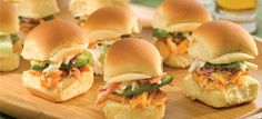 Rotisserie chicken is a great shortcut to make chicken dishes when you are in a rush. In these spicy-cool chicken salad sandwiches, it combines with blue cheese and cayenne dressings for an easy bite that's full of flavor. Hellmans Recipes, Buffalo Chicken Sliders, Chicken Sandwich Recipes, Slider Recipes, Wrap Sandwiches, Party Sandwiches, Appetizer Recipes, Appetizers, Cocktails